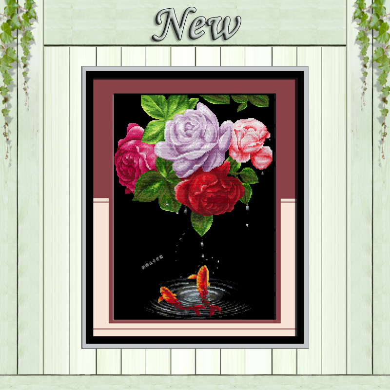 Rose Flower Fish Diy Painting Counted On Canvas Cross Stitch Embroidery Kits Needlework Sets DMC 14CT 11CT Black Cloth Unprinted