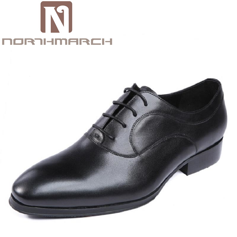 NORTHMARCH Men's Leather Lace-Up Dress Brogue Shoes Mens Business Office Oxfords Wedding Driving Man Flats Chaussure Homme fashion skull print mens top leather dress shoes designer elevator wedding shoes for men business oxfords chaussure homme