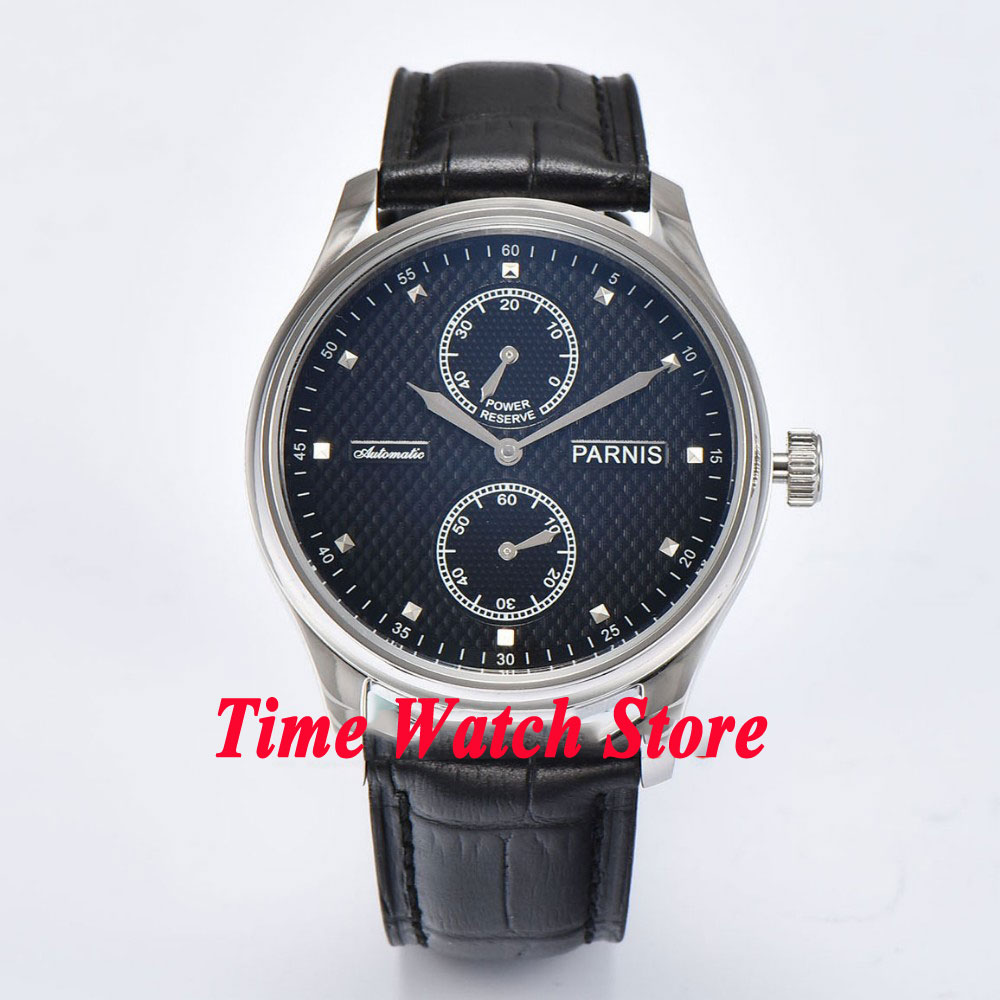 Parnis 43mm black dial silver hands power reserve ST 2542 Automatic mens watch 689Parnis 43mm black dial silver hands power reserve ST 2542 Automatic mens watch 689