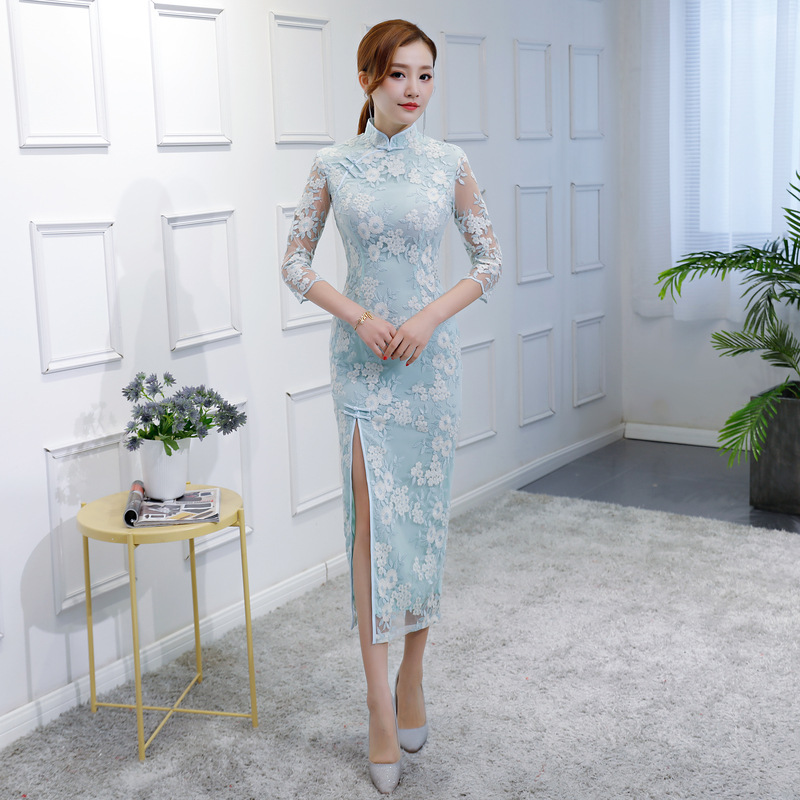 Sexy Summer Cheongsam Light Blue Vintage Chinese style Lace Long Qipao Womens Elegant Slim Party Dress Vestido Size S M L XL XXL