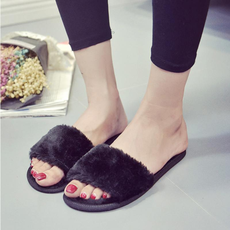 cdd257bd8ade 2019 New Women Slippers Home Indoor Plush Slippers Female Shoes Comfortable  Fur Ladies Slides Chaussure Femme
