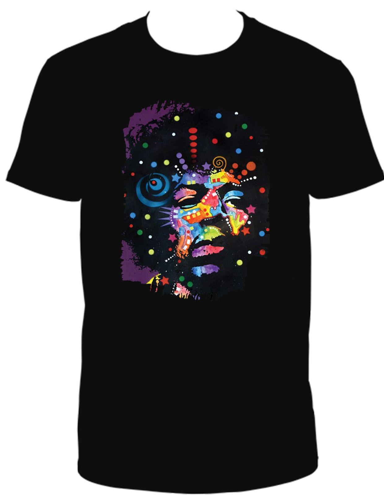 Black t shirt with neon letters - Jimi Hendrix Black Light Neon T Shirt Nieznajomego Rzeczy Print T Shirty Oryginalny China