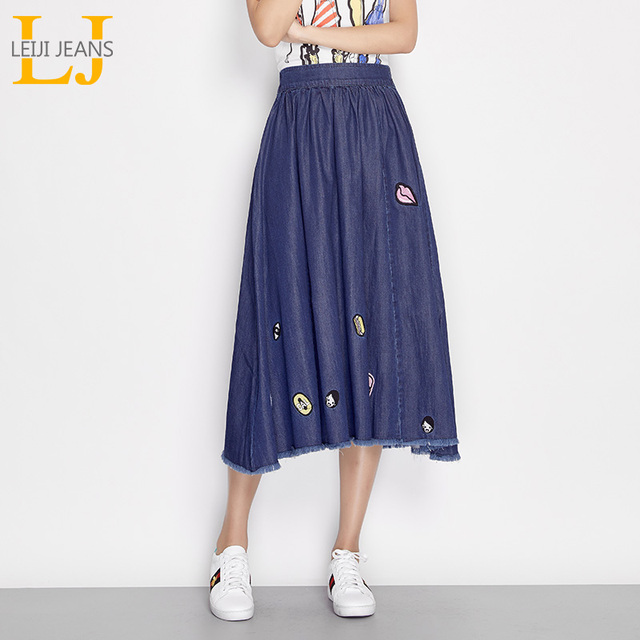 3bfdf890ce LEIJIJEANS New Arrival Summer Plus Size Lip Print Cartoon Embroidery Tassel  Mid Waist Mid Calf Women Pleated Skirt 6516