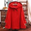 New Autumn female cloak jacket plus size winter women cotton Hooded Woolen coat Long sleeve Casual Wool cloak Overcoat