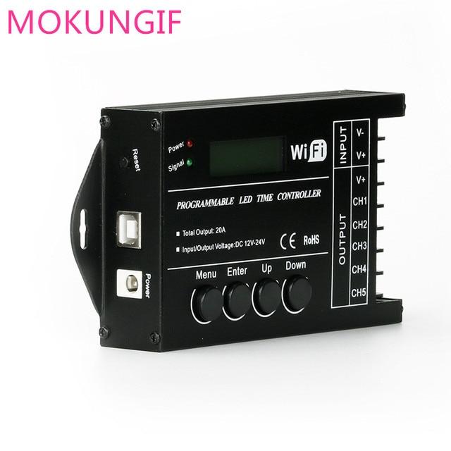Contrôleur de minuterie RGB TC420 TC421, LED, avec wifi DC12V 24V, 5 canaux, sortie totale 20a Programmable, Anode commune