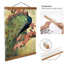 ART ZONE Europe Retro Peacock Art Scroll Painting Animal Wall Print Oil Canvas Study Room Home Decorative Frame Poster