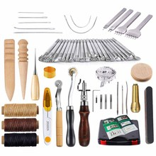 hot deal buy 59 pcs leather craft hand tools kit for hand sewing stitching,stamping set and punch tools&carving working sewing saddle groover