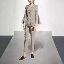 Light Gray Striped Womens Business Formal Evening 2 Piece Pant Suits Blazer Female Office Uniform Ladies Trouser Suits Custom