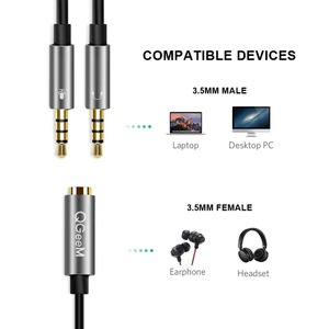 Image 4 - QGEEM Splitter Headphone for Computer 3.5mm Female to 2 Male 3.5mm Mic Audio Y Splitter Cable Headset to PC Adapter AUX  Cable