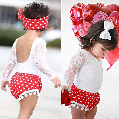 2PCS Toddler Kids Clothes Set Summer Baby Girls Casual Lace Top Polka Dot Pom Pom Tassel Short +Headband Outfit Clothing Set 4th of july baby girls clothing set summer girls tees ruffle short girls outfit american usa flag baby clothes 2pcs kids clothes