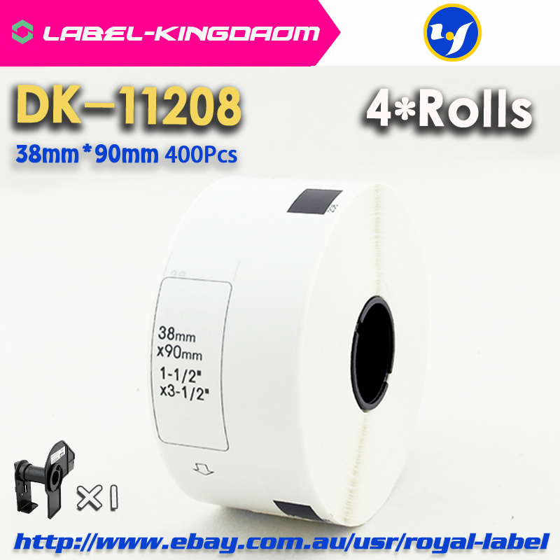 4 Refill Rolls Compatible DK-11208 Label 38mm*90mm 400Pcs Compatible for Brother Label Printer White Paper DK11208 DK-12084 Refill Rolls Compatible DK-11208 Label 38mm*90mm 400Pcs Compatible for Brother Label Printer White Paper DK11208 DK-1208