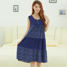 Women's Sleeveless Nightgown Loose Cotton Silk Night Dress Women's Sleep Lounge Sleepshirts Nightgowns