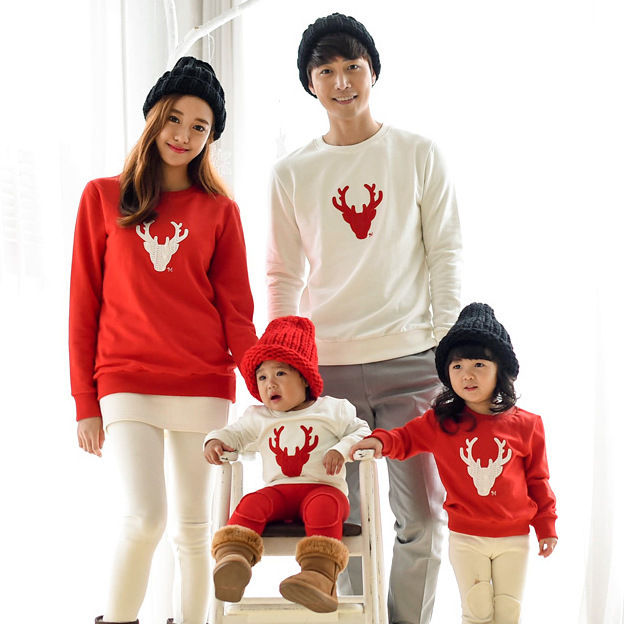 2016 Family look Matching Outfits Mom/Dad/Baby red Long-Sleeve Cotton T shirts spring/autumn Christmas deer Family Clothing