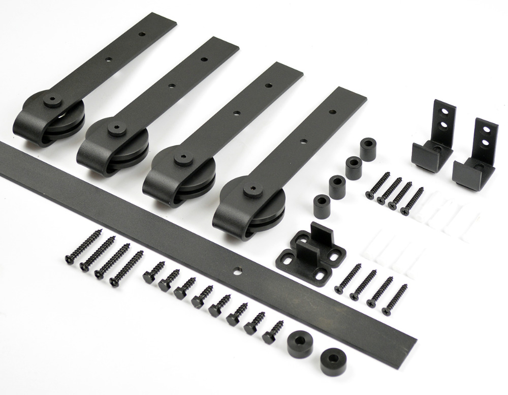 DIYHD petite grange porte matériel en bois armoire Double coulissante grange porte matériel Mini grange porte piste Kit à accrocher 2 porte - 2