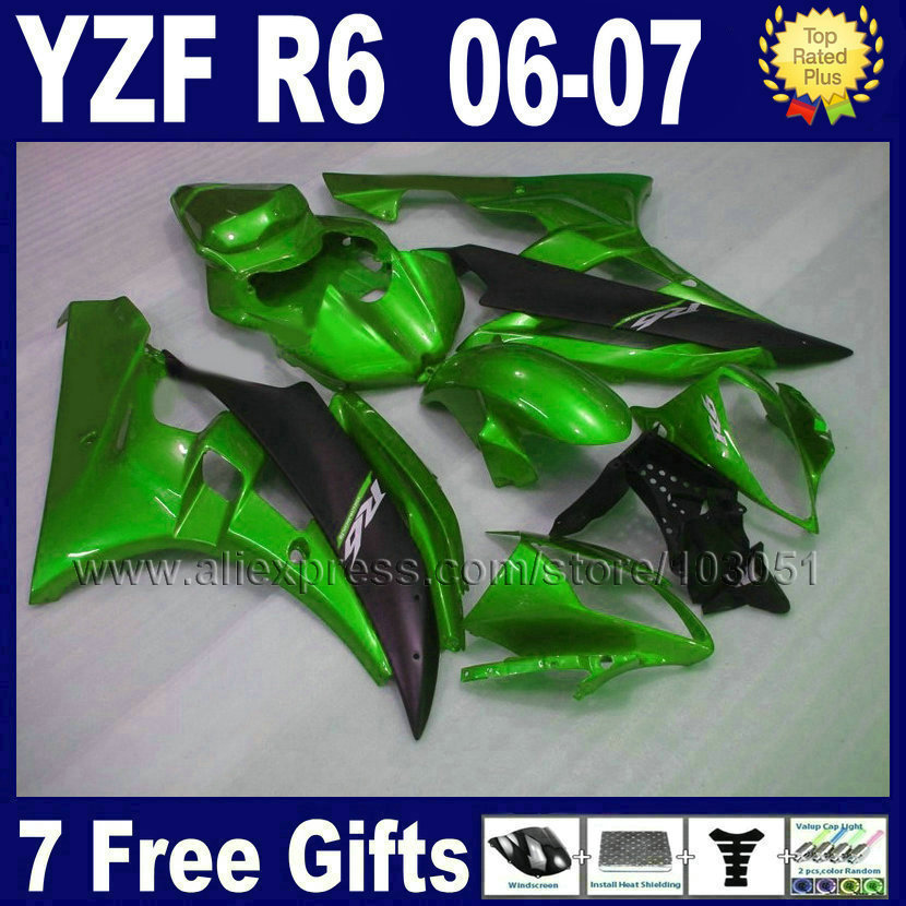 Custom free Injection motorcycle fairings kit For YAMAHA 2006 2007 YZFR6 06 07  YZF R6 YZF600 green aftermarket body fairing