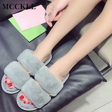 MCCKLE Female Flat Warmer Plush Fur Winter Open Toe Indoor Home Slippers 2017 Women's Fashion Red Black Comfortable Style Shoes