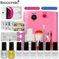 Ibcccndc Nail Art Set 36W UV Lamp 6 Color 7ml Soak off Nail Gel Base Top Coat Polish Remover Practice Manicure Tools File Kit
