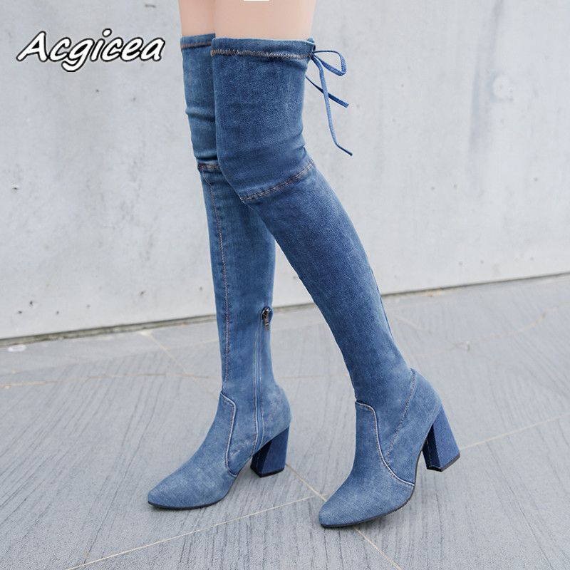 2017 autumn winter style shoes pointed thick with side zipper boots high heels denim over knee boots Over the knee boots  f0612017 autumn winter style shoes pointed thick with side zipper boots high heels denim over knee boots Over the knee boots  f061