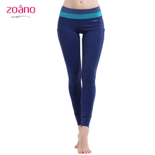 Zoano Fitness Women Yoga Pants Sports Leggings Ladies Running Tight Slim Polyester Spandex Collage Smoothing