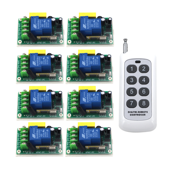 Free Shipping AC 220V 30A 1CH Wireless RF Remote Control Switch 1 Transmitter +8 Receiver SKU: 5245 ac 220v 30a 1ch rf wireless remote control switch set 1 receiver 4 transmitter on off fixed code for light lamp sku 5332