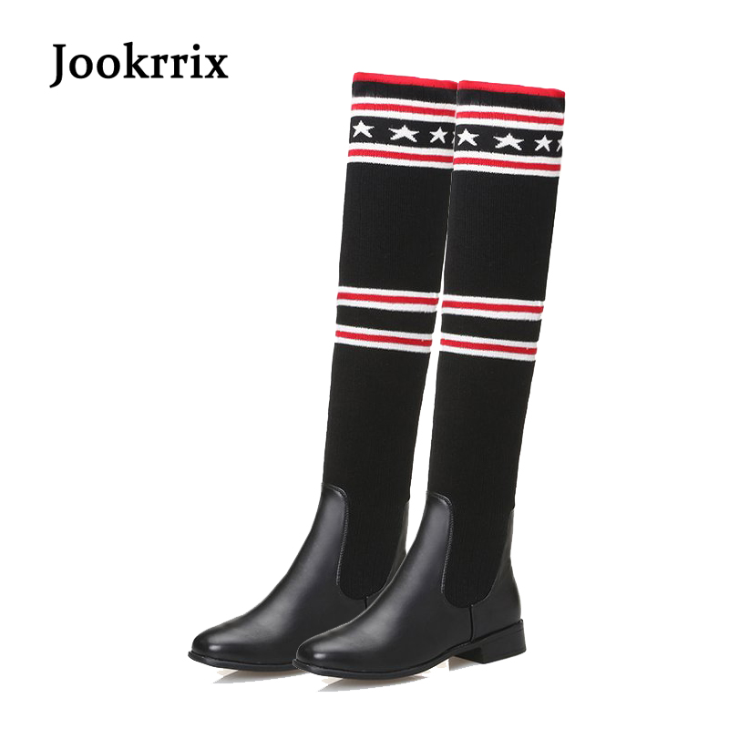 Jookrrix 2017 New Socks Boots Women Over The Knee High Boots Autumn Winter Knitted Shoes Lady Long Thigh High Boots Elastic Slim