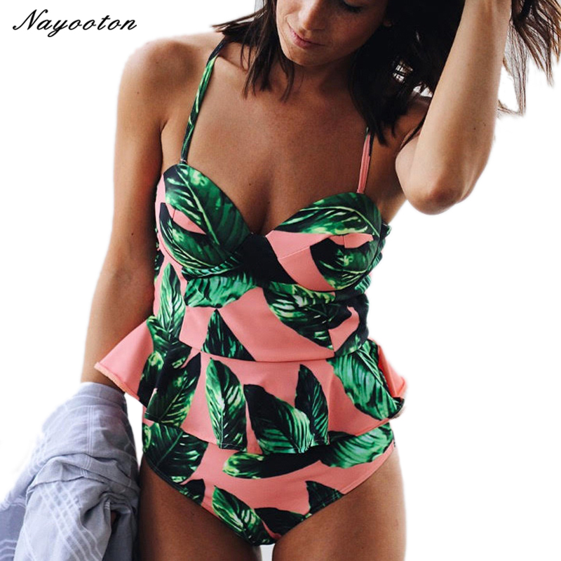 Bikini Women High Waist Swimwear 2017 Brazilian Push Up Bandeau Swimsuit Sexy Halter Top Bathing Suit Printing Swimming Suits cooclo 2018 hot sale floral print bikini halter bandeau top sexy bikini set women swimwear biquinis brazilian new style swimsuit