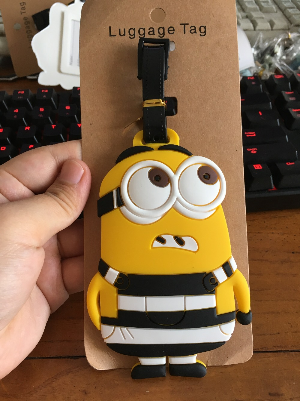 Cartoon Cute Xiao Huangren Luggage Tag PVC Pendants Portable Travel Label Fashion Suitcase Decoration Suitcase ID Address Holder