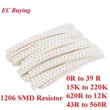 500 pçs 1206 smd resistores kit sortido kit 5% amostra kit saco kit diy componente eletrônico 25 valores * 20 pçs