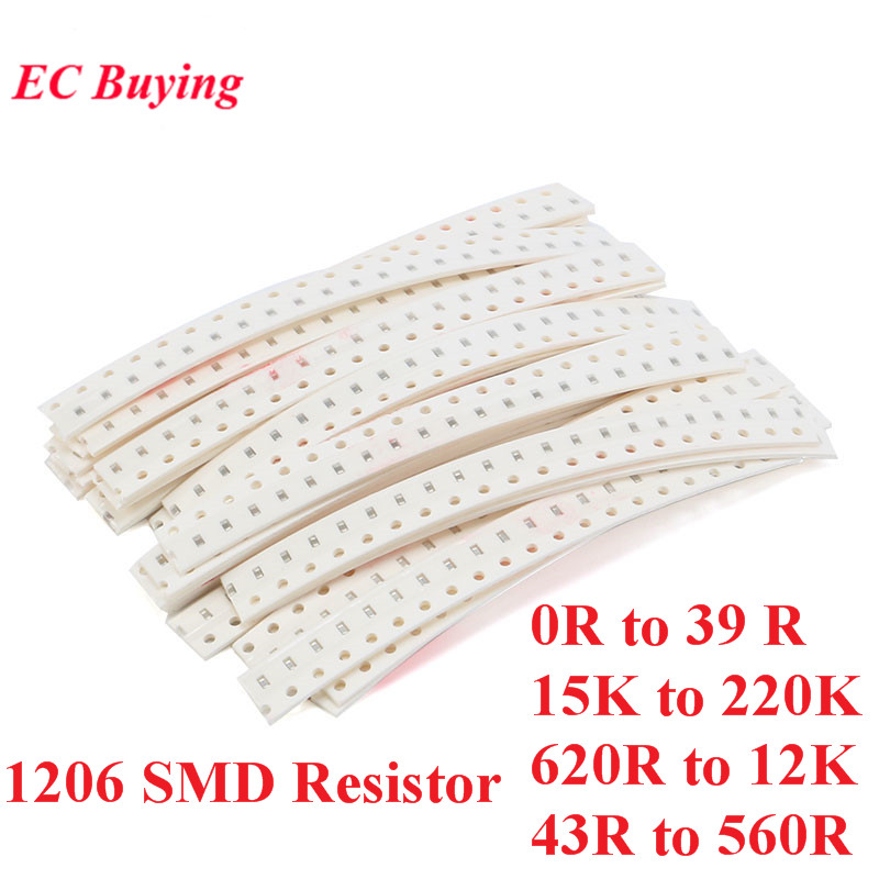 500pcs 1206 SMD <font><b>Resistors</b></font> Kit Assorted Kit 5% Sample Kit Sample Bag DIY Kit Electronic Component 25 Values*20pcs image