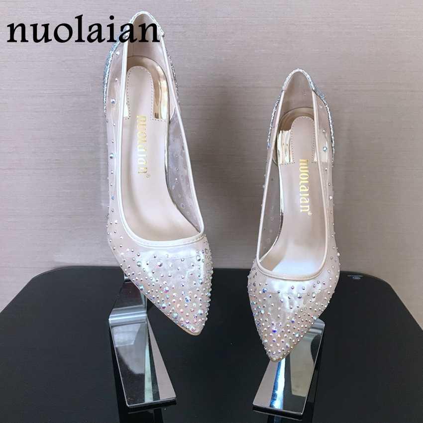 e31a2e2dd Обувь со стразами, женская свадебная обувь на тонком высоком каблуке, женская  обувь на высоком