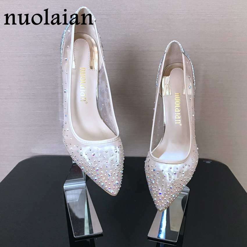 Crystal Shoes Woman Wedding Thin High Heels Womens High Heel Shoes Summer Ladies Shoes Party Platform Pumps Women Rhinestone