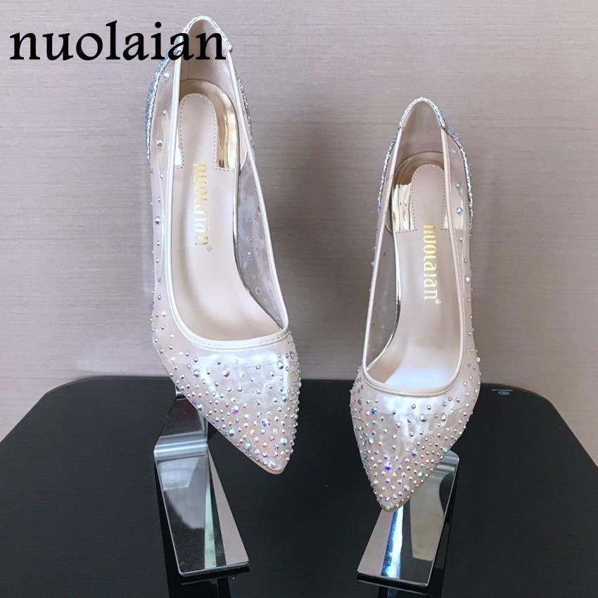 9e219d8822366 Kristall Schuhe Frau Hochzeit Thin High Heels Frauen Hohe Schuhe Sommer  Damen Schuhe Partei Plattform Pumpt Frauen Strass