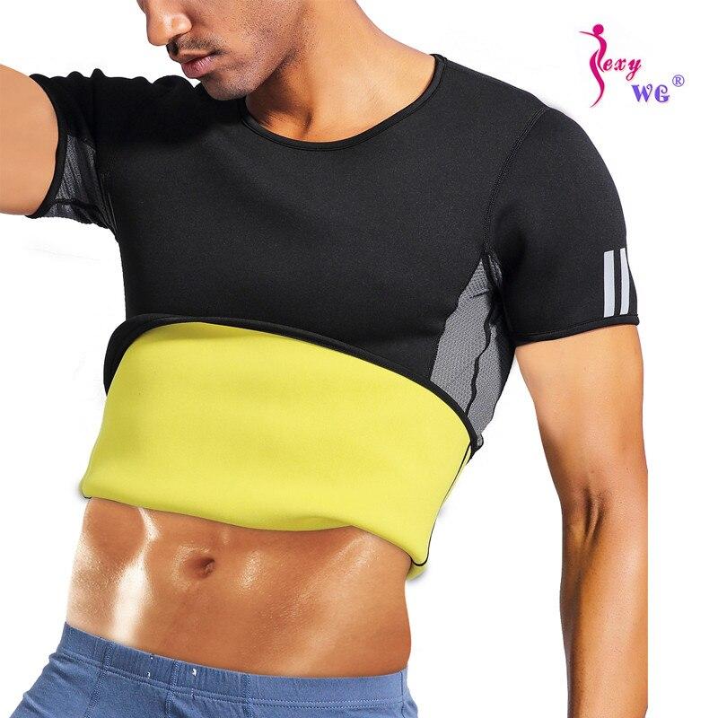 Esporte dos Homens Camisa da Cintura Treinador de Manga Perda de Peso Sexywg Correndo Curta Ginásio Fitness Musculação Yoga Camiseta Corpo Shaper Colete