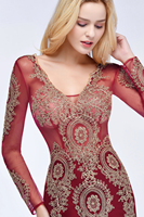 Babyonlinedress Long Sleeve Mermaid Lace Burgundy Evening Dress 2018 Sexy V Back Evening Gowns Robe de Soiree Longue 5