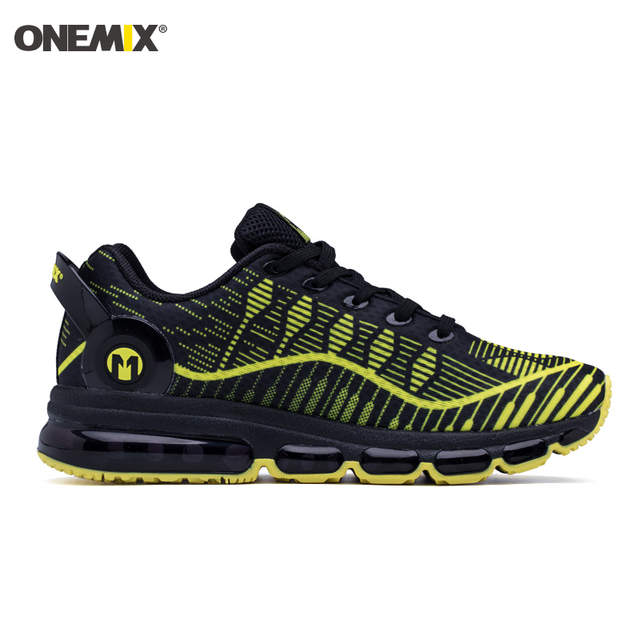 ONEMIX 2018 Man Running Shoes For Men Black Yellow Cushion