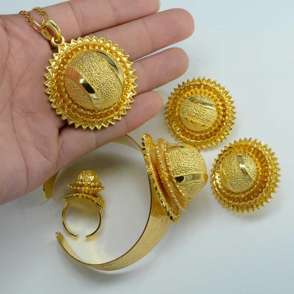 مجموعة مجوهرات إنييو الإثيوبية قلادة ملونة ذهبية/أقراط مشبكية/خاتم/الإسورة مجوهرات زفاف العروس أفريقيا إريتريا مجموعة مجوهرات #000613