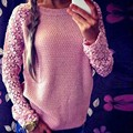 2017 Весна Осень Мода О-Образным Вырезом Hollow Кружева Рукав Трикотаж Женщины Плюс Размер Негабаритных Свободные Трикотажные Пуловер Перемычка Свитер