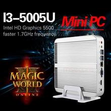 Безвентиляторный Intel I3 5005U мини-ПК рабочего стола Windows 10 карманный компьютер barebone системы неттоп бродуэлл HD5500 Graphics 300 м Wi-Fi