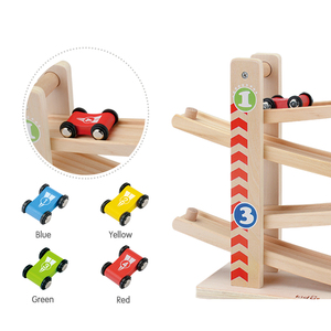 Image 2 - Kidus Ramp Race Track Wooden Racing Cars Race Cars Toy Gift with 4 cars Toys For Children Diecasts