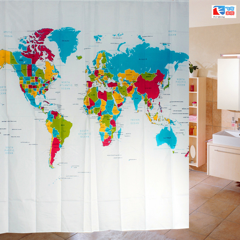 Aliexpress buy feiqiong brand waterproof shower curtains world aliexpress buy feiqiong brand waterproof shower curtains world map pattern 100 polyester bathing curtain 72 inch 12 hooks from reliable waterproof gumiabroncs Gallery