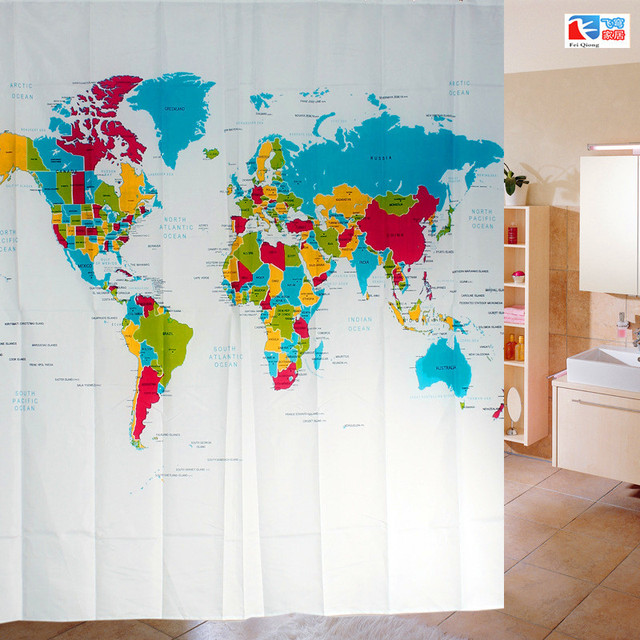 Feiqiong Brand Waterproof Shower Curtains World Map Pattern 100 Polyester Bathing Curtain 72 Inch