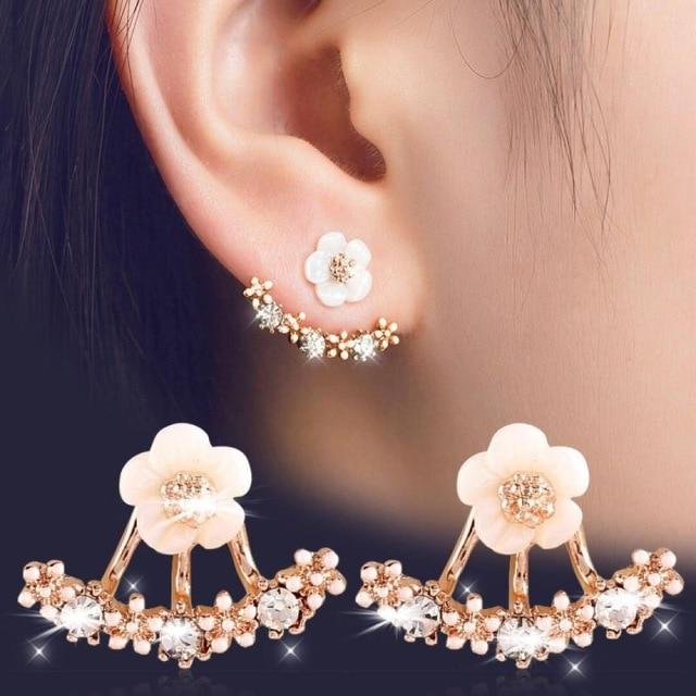 1 Pair Women Flower Stud Earrings Rhinestone Fashion Jewelry Detachable Daisy Eardrop Sweet Cute Shining Dangler Accessories