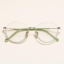 Retro Personality Eyewear Half Frame Metal Alloy Glasses Frames for Women Circular Optical prescription Eyeglasses