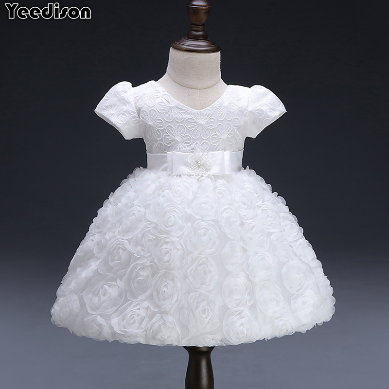 White Baby Dresses Girl Newborn 1st Year Birthday Infant Outfit Cute Princess Party Wedding Christening Dress Gown For Baby Girl