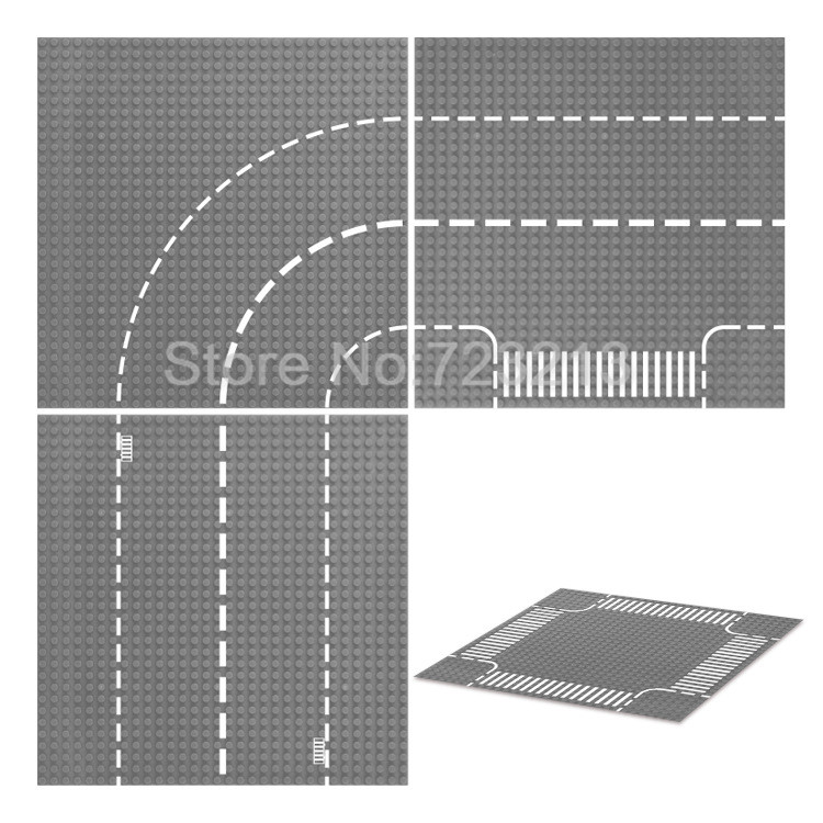 32*32dots Straight Crossroad T-Junction Road Base Curve Single Sale MOC Plate Building Blocks Bsaeplate Model Kits Toys 32 32 dots plastic bricks the island straight crossroad curve green meadow road plate building blocks parts bricks toys diy