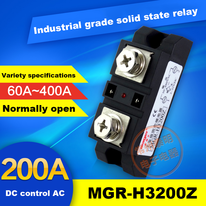 SSR  Industrial Grade Module Solid State Relay 200A DC Controlled AC MGR-H3200Z 220V mager ssr industrial grade module dc solid state relays control ac mgr h3150z 150adc ac