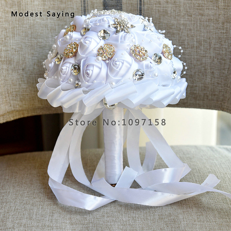 New Fashion Silver Artificial Rose Pearls Wedding Bouquets 2018 With