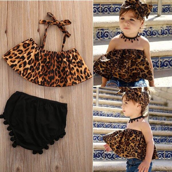 2PCS Leopard Off Shouder Top & Pom Pom Tassel Romper Kids Baby Girls Outfits Clothes Halter Set