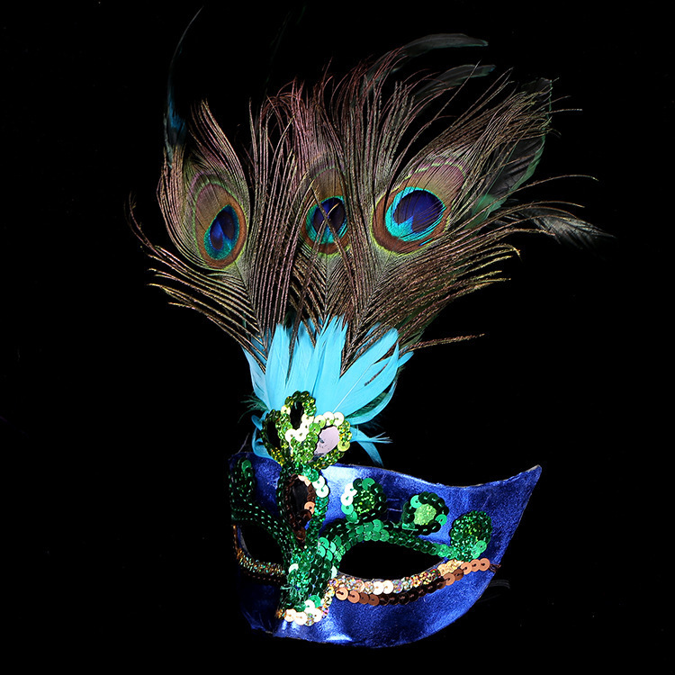 yooap Womens aristocratic peacock feather mask green Christmas Halloween party purple clothing ball accessories