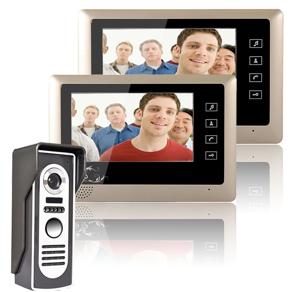 One to Two Video Doorbell 1 Outdoor camera + 2 Indoor Monitors Video Handsfree Intercom Kit System 7 Inch screen CMOS 700TV Line 10 tft color wired video doorphone intercom system one black indoor monitor screen two one ir outdoor camera video doorbell